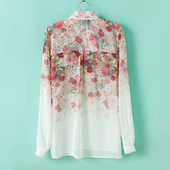 2015 verano nueva europa y américa gasa estampado de flores gradiente cuello de la camisa camisa de manga larga mujeres