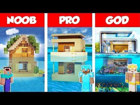 Minecraft Noob Vs Pro Vs God Modern House On Water Build Challenge In Minecraft Animation Youtube Modern House Minecraft Minecraft Creations