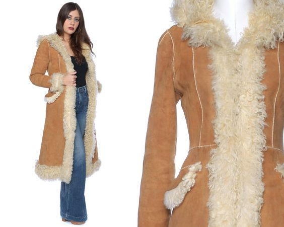 Shearling Coat 70s Sheepskin Tan Hood Mongolian Princess 1970s
