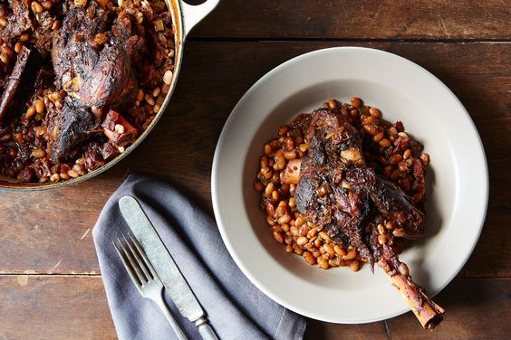 This recipe for coffee-infused braised lamb shanks and beans would be a perfect match for an enamel Dutch oven.
