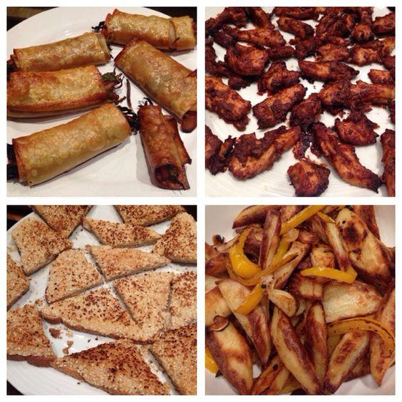 Slimming world spring rolls, salt & pepper chicken, prawn toast and salt & pepper chips. All Slimming World recipes.