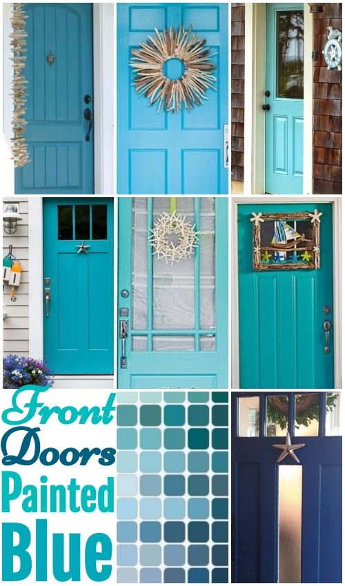 Blue Front Doors With Coastal Curb Appeal Painted Front Doors Front Door Paint Colors Teal Front Doors