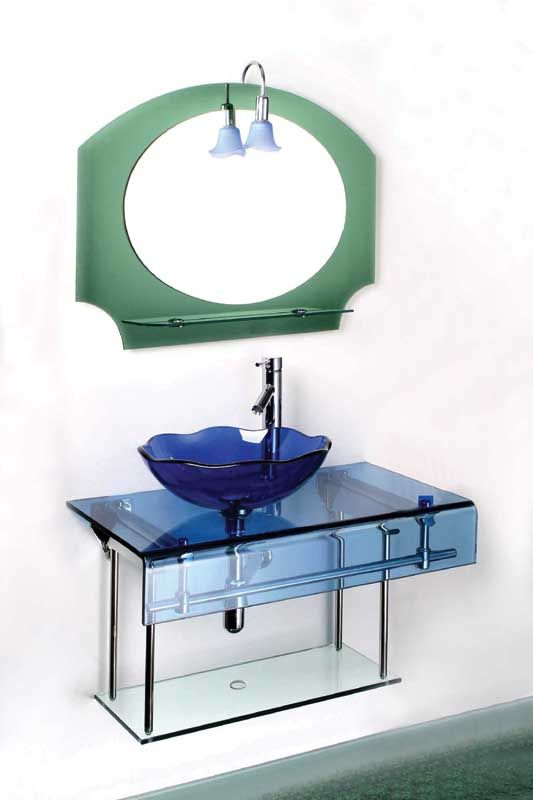 Blue Glass Washbasin With Counter Top And Stainless Steel Rack Round Mirror Bathroom Wash Basin Steel Racks