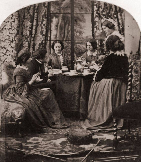 Victorian women enjoying a coffee break