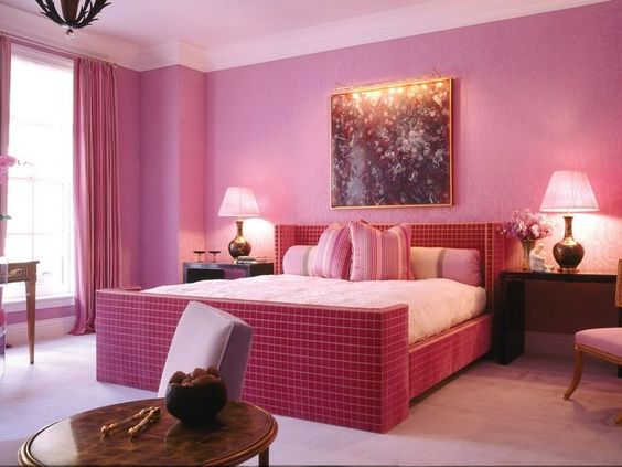 A bold pink bedroom designed by Drake/Anderson | archdigest.com