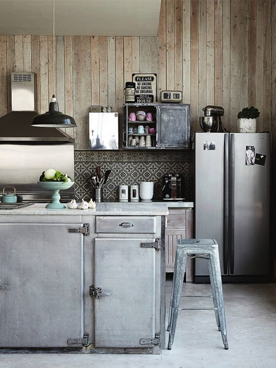 Industrial kitchens | Image by Pascal Francois. Stainless Steel. Wood Walls. Home. Interior Design. Vintage.