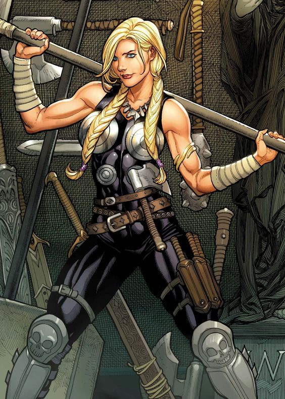 -Valkyrie by frank Cho-  and of course, she sacrifices herself for Thor and Loki is the one to hand her the metaphorical switchblade.