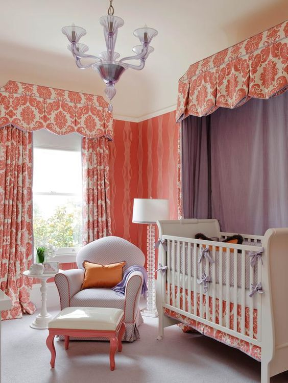 Whimsical Burnt Coral Nursery & Purple Canopy (http://www.hgtv.com/designers-portfolio/room/contemporary/kids-rooms/12405/index.html?soc=Pinterest)
