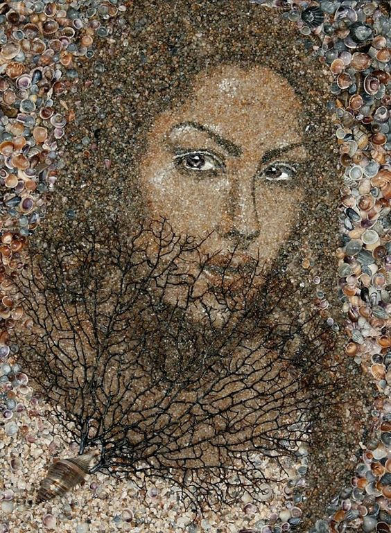 Ukrainian artist Svetlana Ivanchenko makes beautiful sand and shell mosaics using materials commonly found on beaches. Each portrait were carefully assembled by hand, and no colors were used. The element you see on these portraits come from a variety of naturally colored shells and pebbles, and an occasional plant root or bark of a tree.: