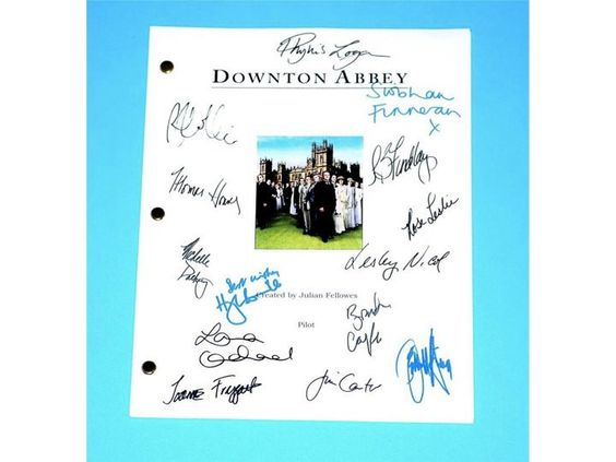 Downton Abbey Pilot Episode Script Autographed: Hugh Bonneville, Jessica Brown-Findlay, Laura Carmichael, Jim Carter, Brendan Coyle & More
