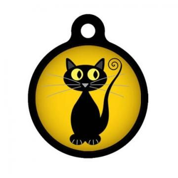 Full Moon Black Cat Pet Tag, Luggage Tag, Child ID Tag by ebonypaws for $10.00