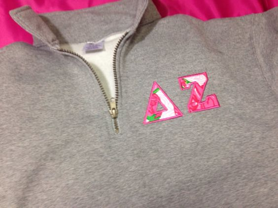 Delta Zeta Quarter Zip Lilly Sweatshirt in by GreekCreationsByDi