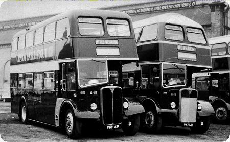 East Yorkshire double deckers - the bus on the right is shaped to fit through Beverly Bar.