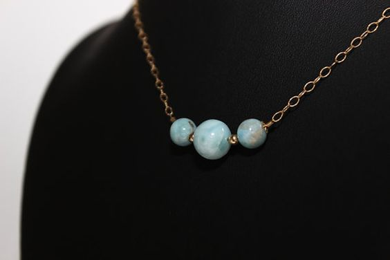 Check out this item in my Etsy shop https://www.etsy.com/listing/468023997/genuine-larimar-gold-filled-necklace