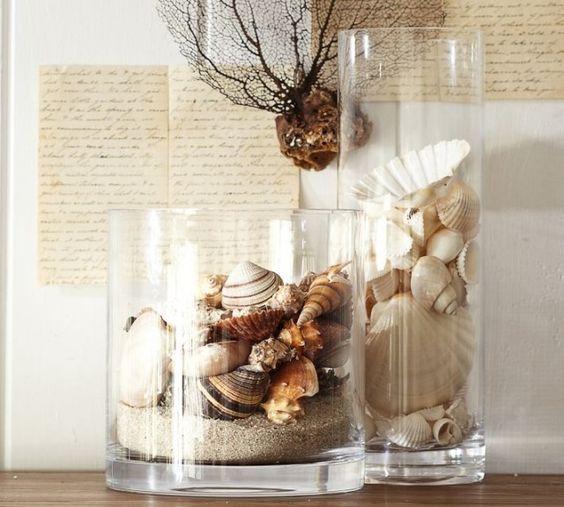 glas vasen rund sand muscheln deko