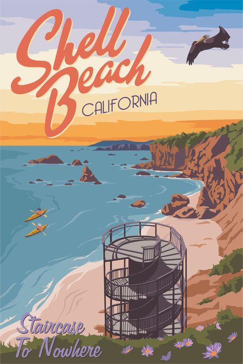 Shell Beach By Steve Thomas Vintage Travel Posters Travel Posters California Poster