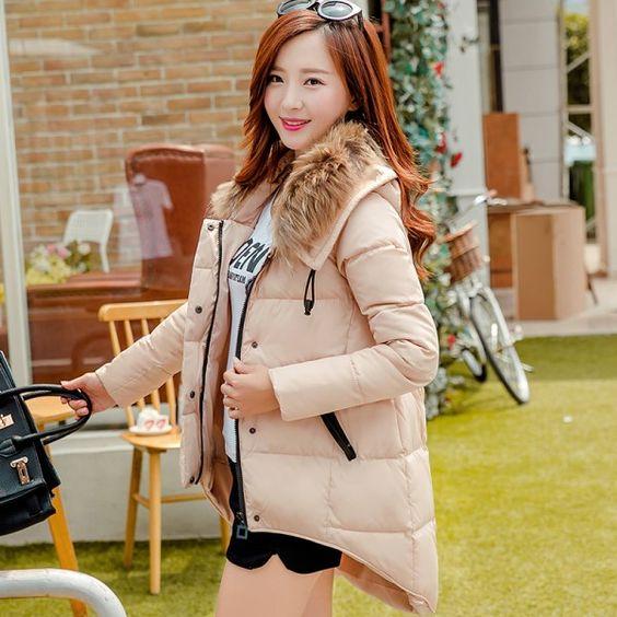 Manteau femme, doudoune effet décalé avec capuche imitation fourrure Fashionista
