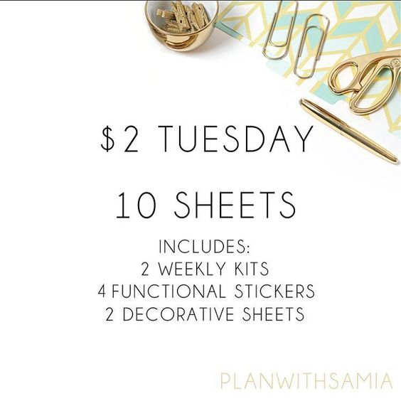 2 Dollar Tuesday!! This is the first for my shop You get 10 Sheets for $2  Limited quantity available  See the listing on etsy: planwithsamia  #2dollartuesdays #2dollartuesday #plannerstickers #plannercommunity #plannerlove #planneraddict #plannergirl #erincondren #erincondrenlifeplanner #a5planner #weloveec #pgw #llamalove