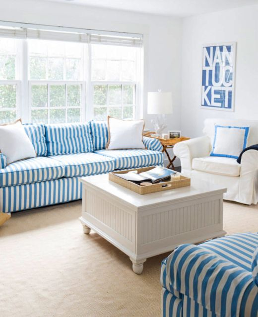 Striped Sofa Ideas For A Coastal Nautical Beach Style Living Room Design Coastal Living Rooms Striped Sofa Nantucket Living Room