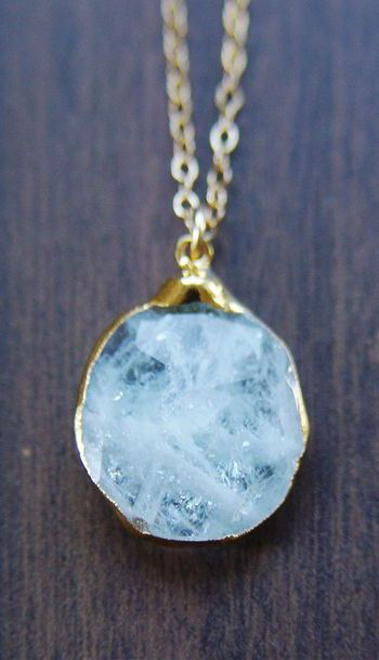 Aquamarine pendant necklace, OOAK, 14k Gold Fill