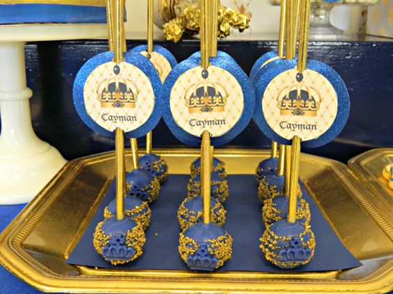 Royal Blue And Gold Prince Baby Shower Cake Pops Crown