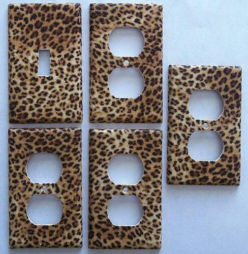 Cheeta Leopard Cat Animal Print Light Switch Plate Cover Bedroom Decor Set 1&4