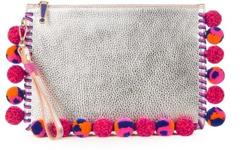 SOPHIA WEBSTER Flossy pompom-embellished leather pouch