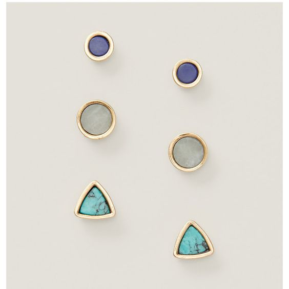 LOFT Mixed Stone Stud Earring Set ($25) ❤ liked on Polyvore featuring jewelry, earrings, gold, post earrings, stone jewellery, bohemian style jewelry, boho jewelry and stone jewelry