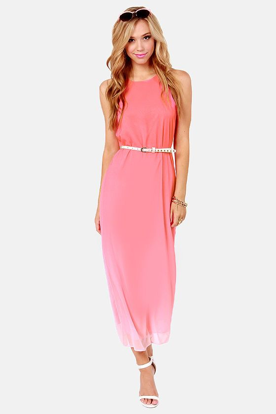 Far and Ombre Coral Pink Maxi Dress - Pink maxi dresses- Ombre and ...