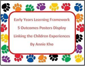 Eylf 5 outcomes posters template linking with experiences for Early years learning framework planning templates