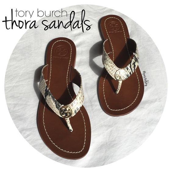 """TORY BURCH thora 2 sandals NEW in box, never worn. roccia python print with beautiful gold hardware. received as a gift a few months ago, but are too small for my normal 5.5 size. original box and gift wrap bag included.  size- 5  due to lighting- color of actual item may vary slightly from photos  please don't hesitate to ask questions, happy POSHing.   -use offer feature to negotiate price on single item. -i do not accept, nor do i respond to """"lowest, trade, or paypal?"""" Tory Burch Shoes…"""