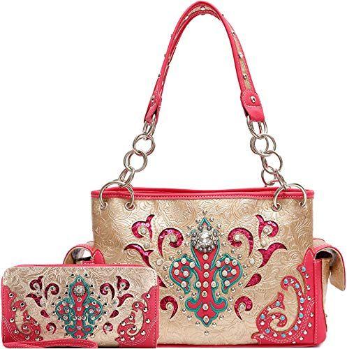 Buy Western Embroidered Fleur Lis Studs Concealed Carry Purse Women Country Handbag Shoulder Bag Wallet Online In 2020 Designer Shoulder Bags Concealed Carry Purse Purses