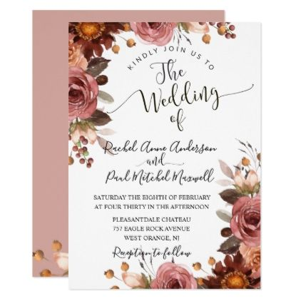Romantic Dusty Rose Watercolor Floral Wedding Invitation Weddinginvitatio Floral Wedding Invitations Watercolor Floral Wedding Invitations Floral Invitation