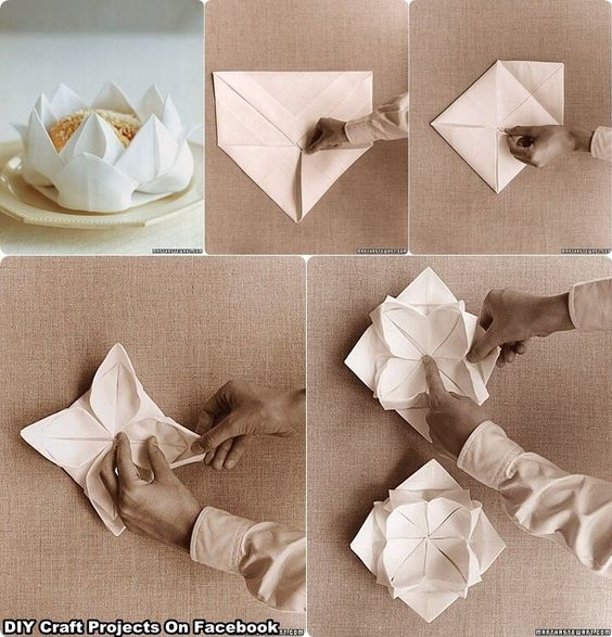 Lotus Serviette Folding : Flower of Napkin  NAPKINS WRAP  Pinterest  Napkins and Flower