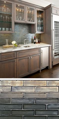 The Kitchen Backsplash Is Walker Zanger Weave Glass Tile In Shadow Blend.