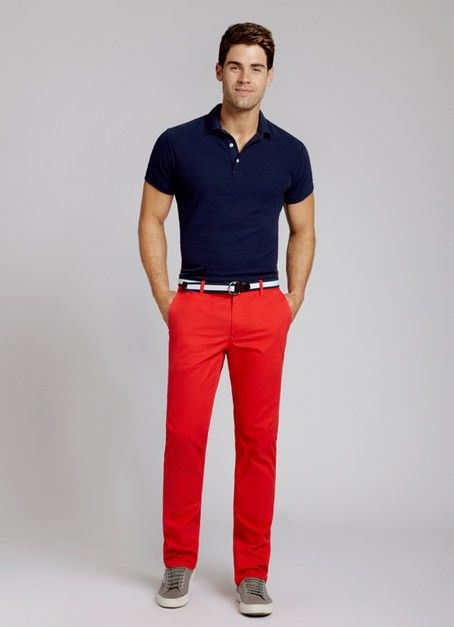 red chino pants for men - Pi Pants