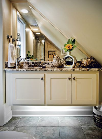Pinterest the world s catalog of ideas for Small bathroom with sloped ceiling