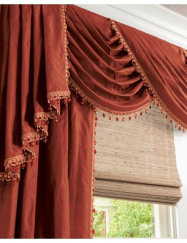 Traditional Swag Fabric Valance in 14587 Silk Dupioni/ Henna