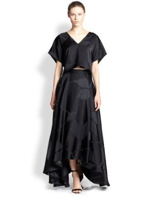 Alice + Olivia - Geometric-Patterned Full Satin Maxi Skirt - Saks.com