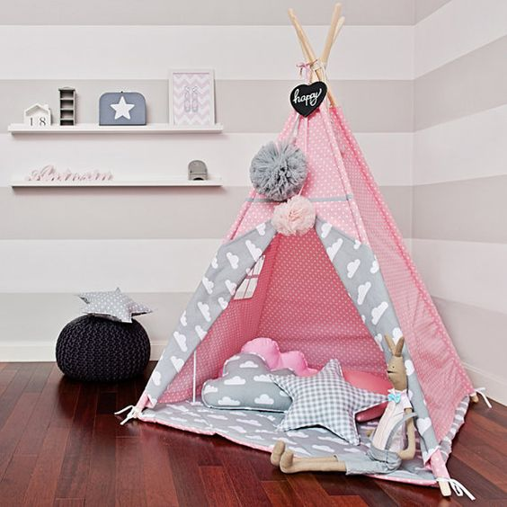 tipi set mit bodenmatte und kissen cloudy rose spielzelte garten und balkon. Black Bedroom Furniture Sets. Home Design Ideas