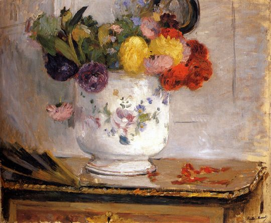 Dahlias by Berthe Morisot Size: 55.9x46.1 cm Medium: oil on canvas:
