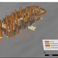 3D-Rekonstruktion der durch Radarmessungen entdeckten Überreste des wikingerzeitlichen Häuptlingssitzes in Borre. Grafik: LBI ArchPro, Mario...