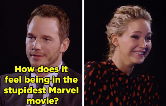 JLaw and Star Lord dish out the best insults - #funny #lol #viralvids #funnypics #EarthPorn more at: http://www.smellifish.com