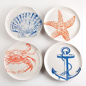 Timber Cove Plates, Set of 4   World Market  Bet I could use stencils and porcelain pens to do these for less! :)