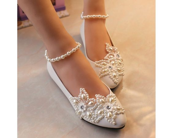 Getmorebeauty Women's Mary Jane Flats Pearls Across The Top Beach Wedding Shoes : Amazon.com