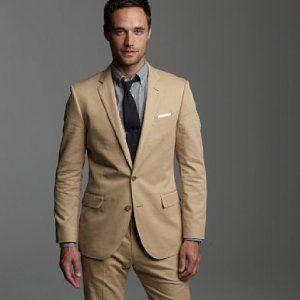 Men's Fashion: Tan Suit, Grey Shirt & Black Tie. | Men's Fashion