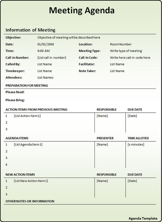 Meeting Agenda Template - A template to organize meeting topics - board meeting agenda