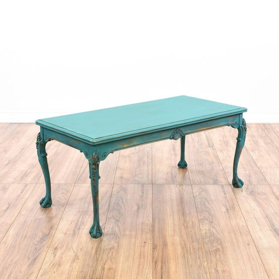 Teal cottage chic carved coffee table for Teal coffee table