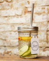 Bild: Ball Mason Jars kaufen Glasbehälter Smoothie Glas Drink to go Cup Vintage Edelstahl Strohhalm Detox Wasser mit Obst Saftglas, Cocktailglas gesund ökologisch nachhaltig schön Geschenk Sommer Spint Jayoni's Jars