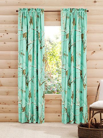 """Bring the outdoors inside with these beautiful 84"""" length Real Tree Mint camouflage pattern panel pair curtains. These camo curtains, offering life and p"""